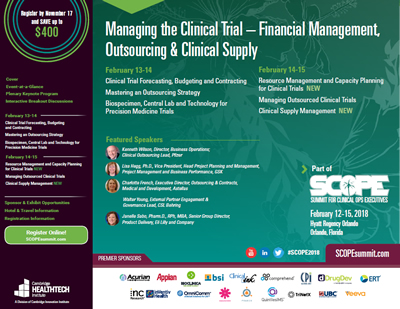 2018 SCOPE Clinical Trial Management Brochure Image